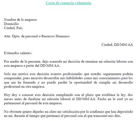 renuncia empleada domestica en mexico ejemplo de carta de renuncia voluntaria ejemplos de carta