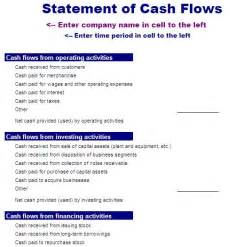 cash flow statement template free layout amp format