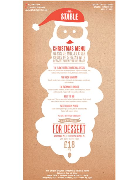 christmas menu sle template free download