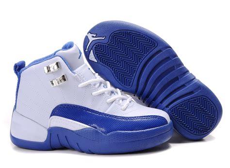 children air 12 white blue shoes