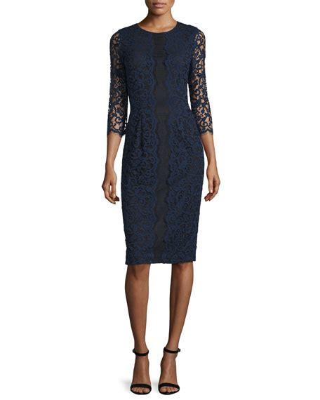 3 4 Sleeve Lace Sheath Dress erin fetherston 3 4 sleeve lace sheath dress