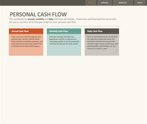 download simple personal cash flow statement for free