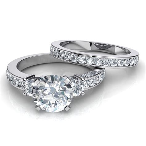 Engagement Ring Wedding Sets by Trilogy Engagement Ring And Matching Wedding Band Bridal Set