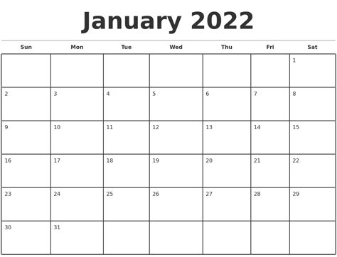 january calendar template january 2022 monthly calendar template