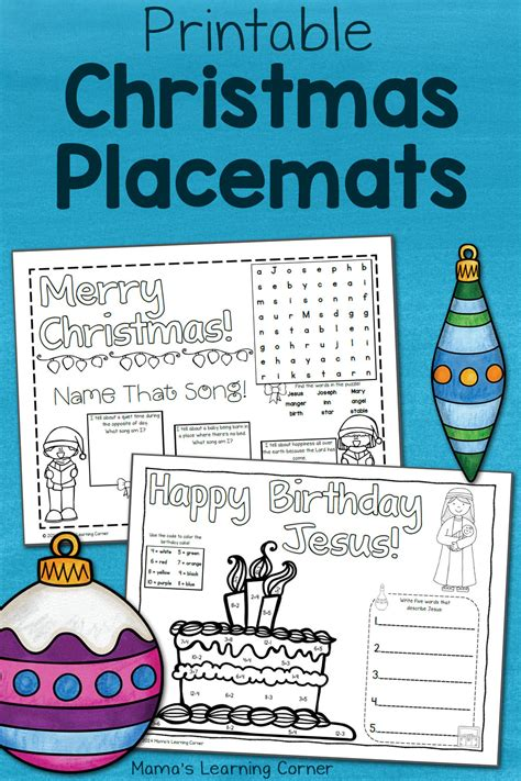 printable christmas placemats mamas learning corner