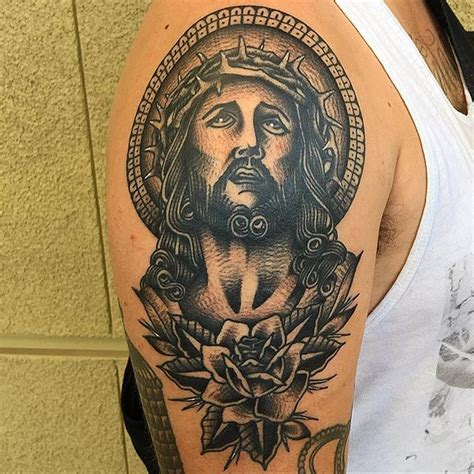 jesus head tattoo designs black ink jesus with on right shoulder