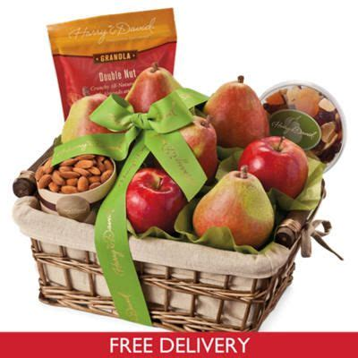 golden state fruit rustic treasures holiday christmas gift basket orchard gift basket original 5 premium pears 2 apples roasted almonds 6 oz dried fruit mix