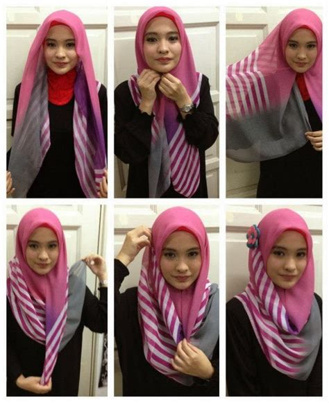 tutorial kerudung turban segi empat 10 gaya hijab segi empat yang beda buat pipi chubby