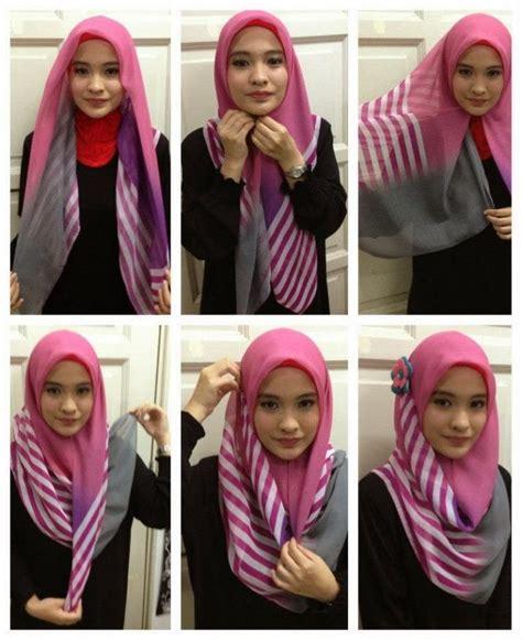 gaya hijab segi empat  beda buat pipi chubby