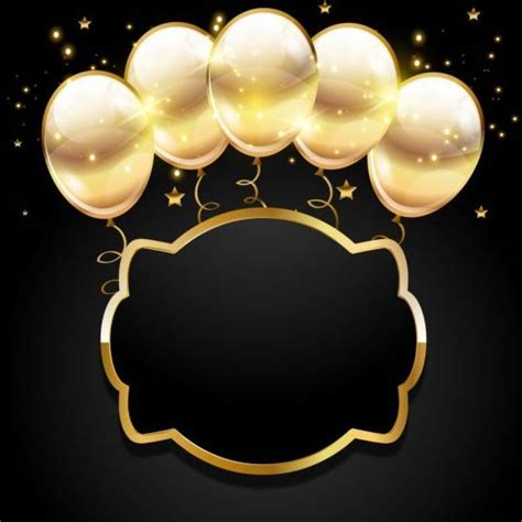 golden balloon  black birthday background  backgrounds idea  cards scrapbooks