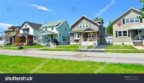 Wooden Houses Industrial Suburb Buffalo Ny Stock Photo