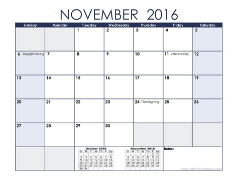 printable calendar november 2016 printable november 2016 calendar with holidays
