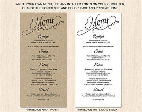 menu card template doc rustic script menu card template calligraphy menu card