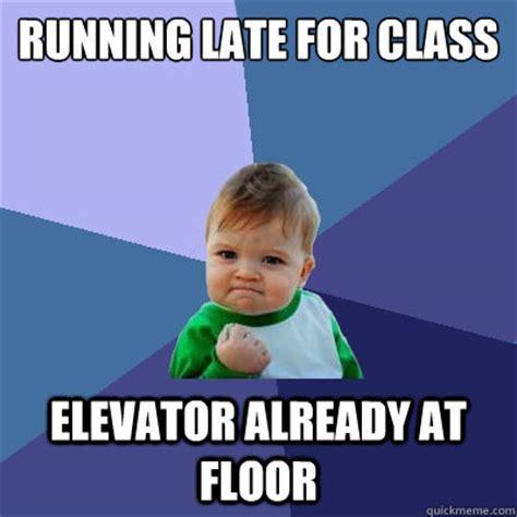 Running Kid Meme - running late for class elevator already at floor success