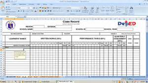 on the record template deped k to 12 k to 12 e class record templates for grade