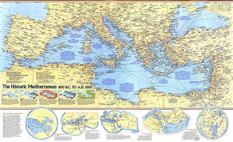 map of mediterranean historic mediterranean 800 bc to ad 1500 map