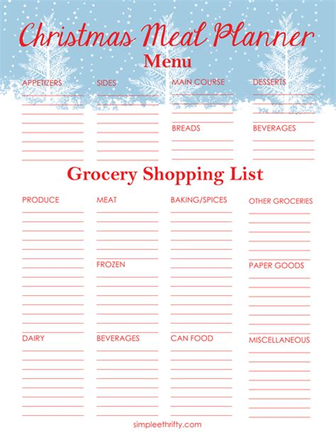 printable grocery list menu christmas meal planner printable menu and shopping list