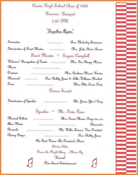 family reunion book template family reunion program template banquet agenda template 3