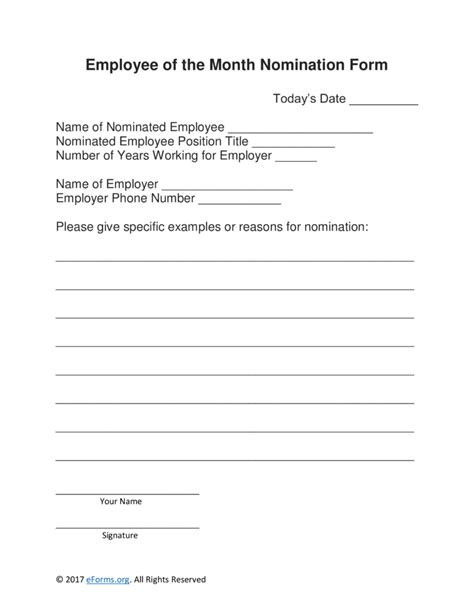 employee of the month nomination form template free employee of the month nomination form word pdf
