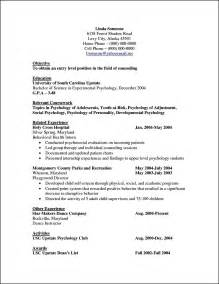 Child Psychologist Sle Resume by Curriculum Vitae Template For Psychologist Free Sles Exles Format Resume