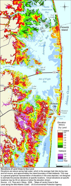 maryland map elevation sea level rise planning maps likelihood of shore