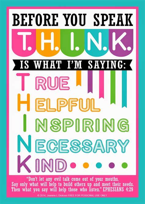 printable think poster honeybops before you speak t h i n k free printable
