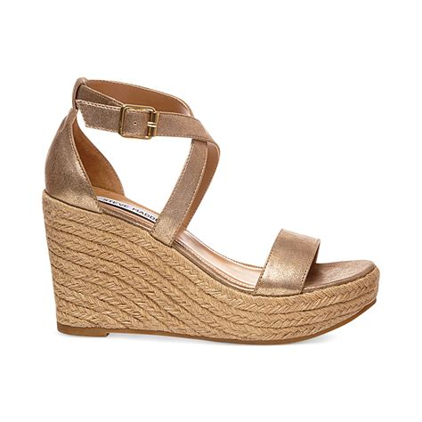gold sandals steve madden steve madden womens montaukk platform wedge sandals in