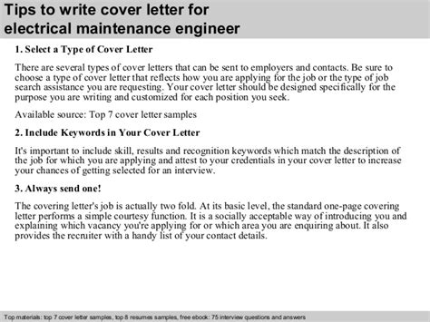 Contract Engineer Cover Letter by Electrical Maintenance Engineer Cover Letter