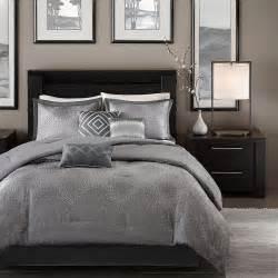 Modern contemporary chic grey silver chevron stripe comforter set