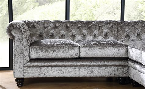 velvet chesterfield sofa uk hton silver crushed velvet chesterfield corner sofa