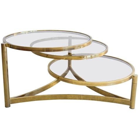 swivel coffee table milo baughman tri level brass and glass swivel coffee