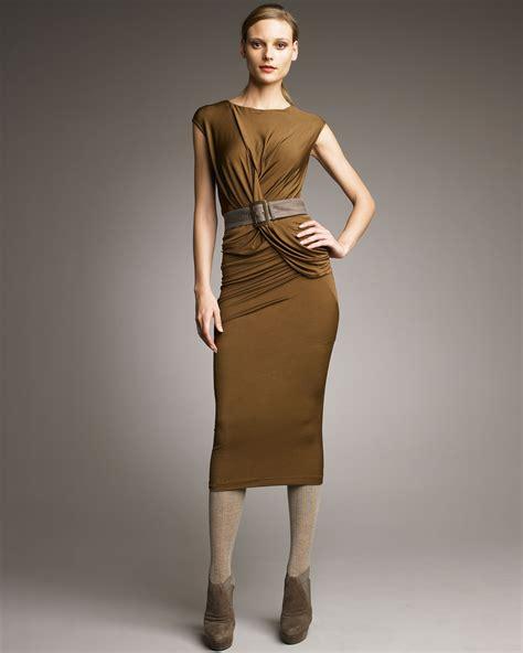 donna karan draped dress donna karan draped jersey dress in brown lyst