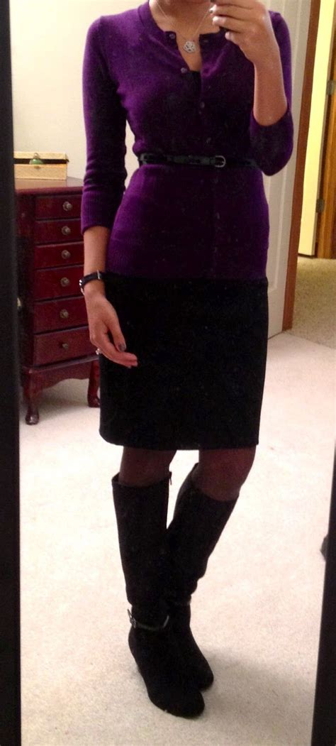 belted cardi pencil skirt boots clothes i like