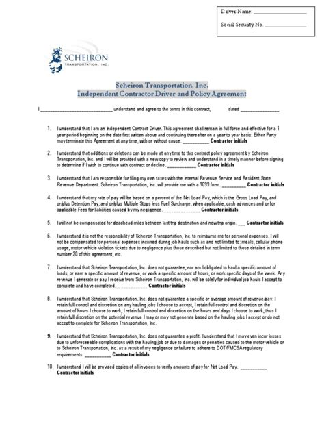 Agreement Letter For Transportation Independent Contractor Driver Agreement Pdf Transport