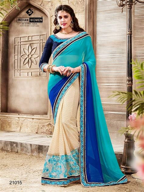 Blouse Designs For Heavy Sarees by Indian Blue Designer Heavy Work Saree With Blouse