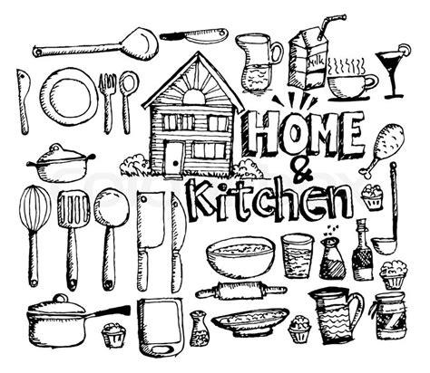 doodle anniversary 1 month sketch kitchen elements doodle vector stock vector