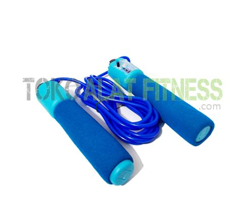 New Alat Fitness Jym Lompat Tali Tali Skipping Speed Rope Fitness skip soft with counter biru muda toko alat fitness