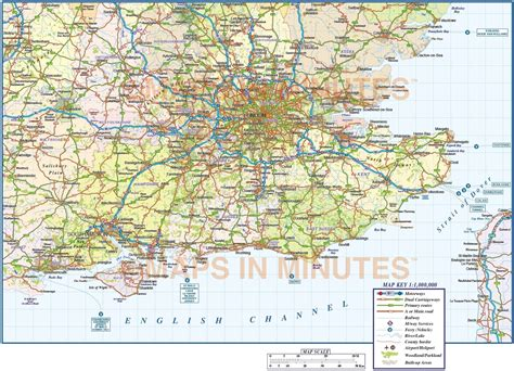 printable road map of southern england vector south east england map county political road and