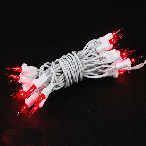 Red Non Connectible Christmas Mini Light Sets 20 Light White Wired Lights