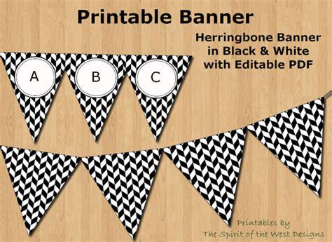 printable racing banner black and white herringbone banner editable pdf printable