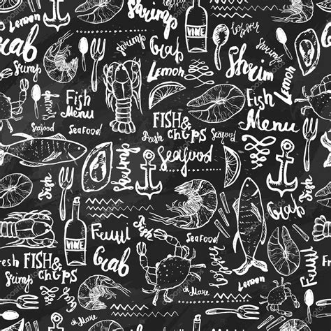 seamless pattern hand drawn seafood vector modern seafood seamless pattern hand drawn seafood