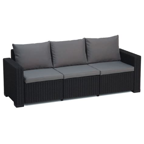 sofa california allibert california graphite grey 3 seater rattan garden