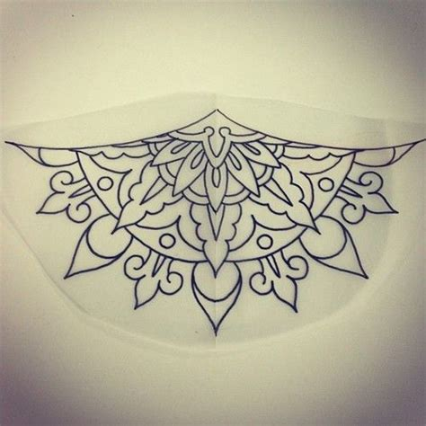 sternum mandala geometric flower tattoo inspiration