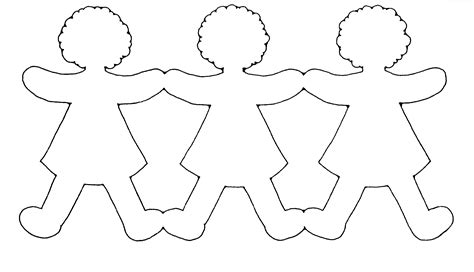 paper doll chain template craft pinteres