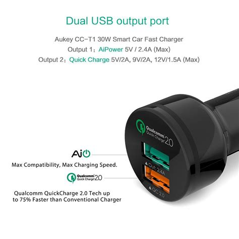 Charger Usb Aukey 2 Port 1 Port Type C 2 4a Qc3 0 Aipower Pa Y4 aukey charge 2 0 30w 2 ports usb qc2 0 car charger adapter with aipower 5v 2 4a with type