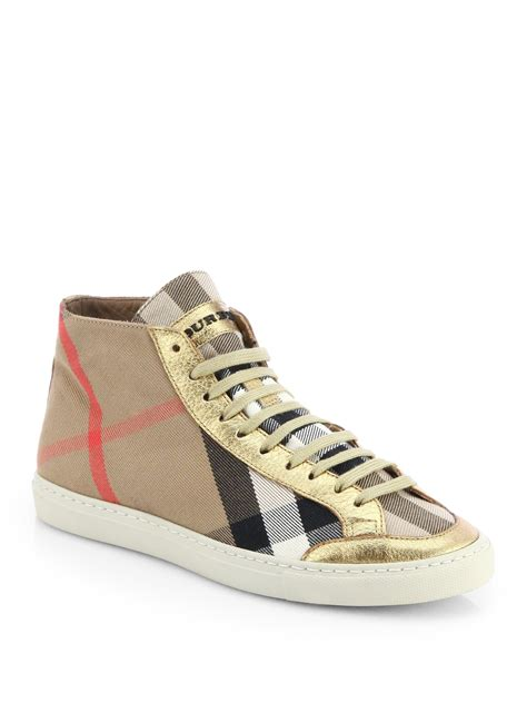 burberry sneakers burberry montfords metallic leathertrimmed check sneakers