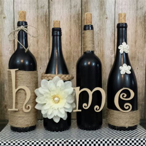 wine bottle home decor decorated wine bottles hand painted set of wine bottles