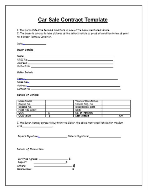 Agreement Of Sale Template For A Vehicle by Car Sale Contract Template Tips Guidelines