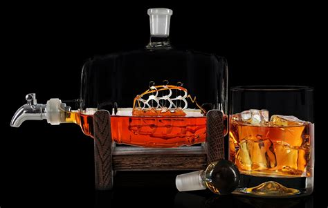 whiskey barware glass ship in a whiskey barrel keg decanter the green head