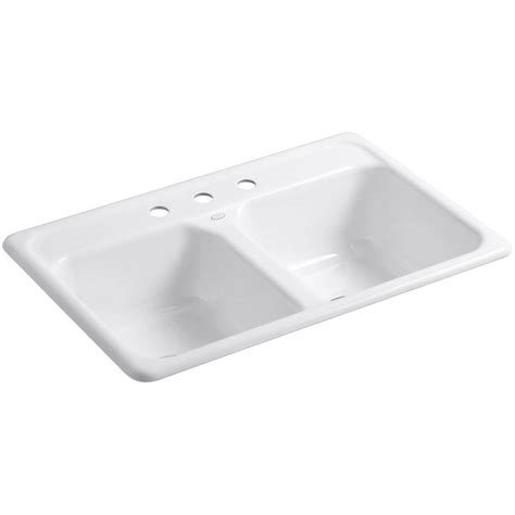 kohler kitchen sinks home depot kohler delafield drop in cast iron 33 in 3 hole double